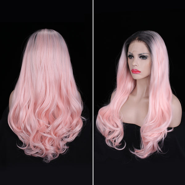 Pastel Pink Wavy Hair With Dark Roots Glueless Synthetic Lace Front Wigs