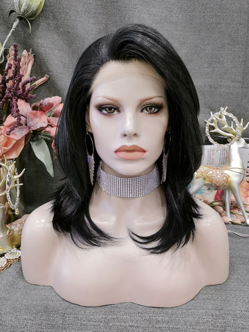 Natural Black Medium Length Lace Front Wigs IM126
