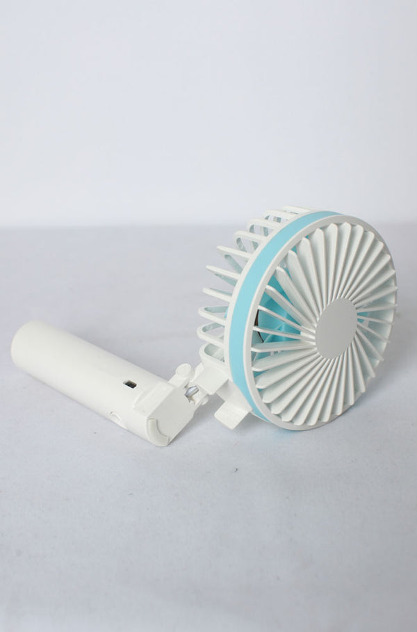 Viscalny Mini Hand-held Fan with 3 Speed Blue & White
