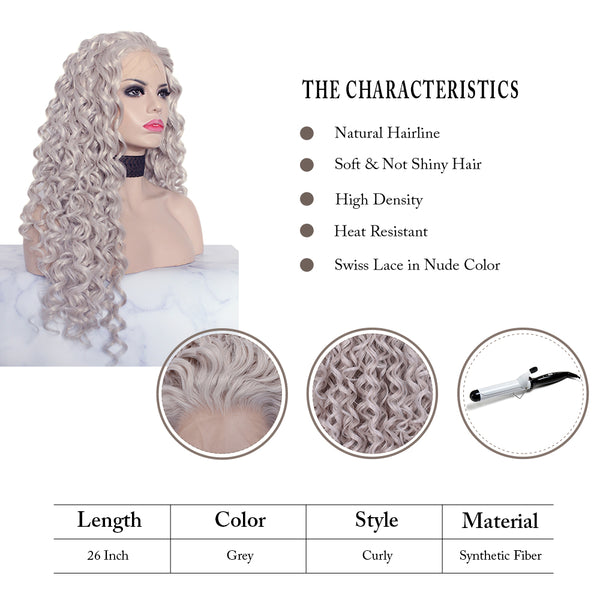 Curly Grey Synthetic Glueless Lace Front Wigs - Imstylewigs