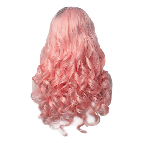 Rossy - Cream Pink With Dark Root Long Wavy Synthetic Lace Front Wig W139-PINK