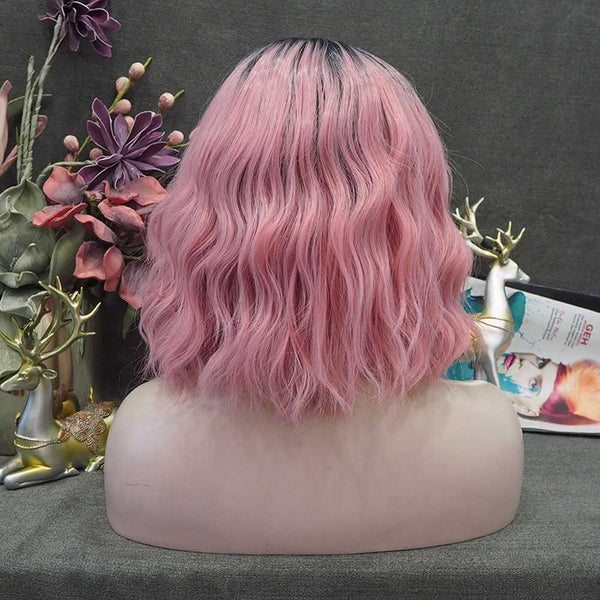 Strawberry Milk  Pink With Dark Root Shoulder Length Loose Curl Synthetic Lace Front Wig W128-LG