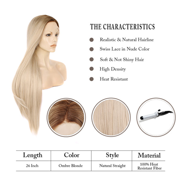 Long Straight Ash Blonde Glueless Lace Front Wigs