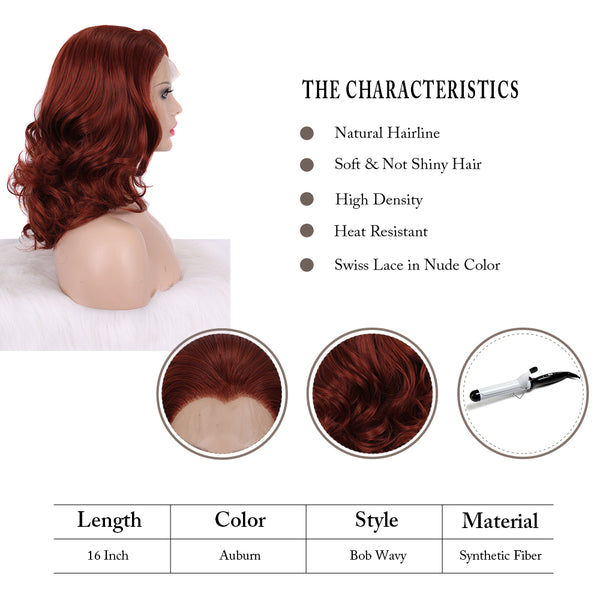 Ginger Red Medium Length Wavy Lace Front Glueless Wigs - Imstylewigs