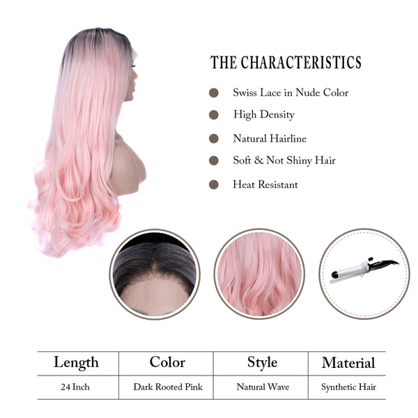 Pastel Pink Wavy Hair With Dark Roots Synthetic Lace Front Wigs