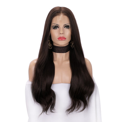 13*6 Lace Front Synthetic Dark Brown Wigs