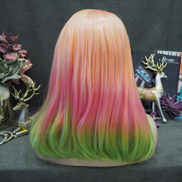 Limited Wig IM17 Colorful Wigs Orange Ombre Pink Green