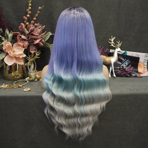 Limited Wig IM01 Ombre Blue Wave Wigs Dark Root