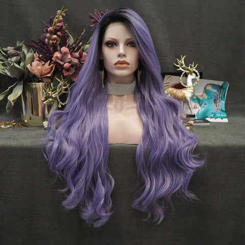 Lavender -  Light Purple With Dark Root Long Loose Wave Synthetic Lace Front Wig  W96