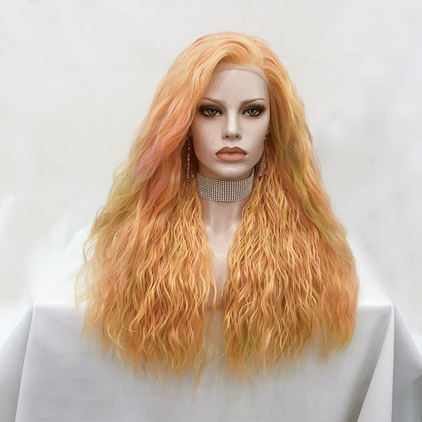 Osmanthus - Multicolored Orange Long Loose Curl Synthetic Lace Front Wig