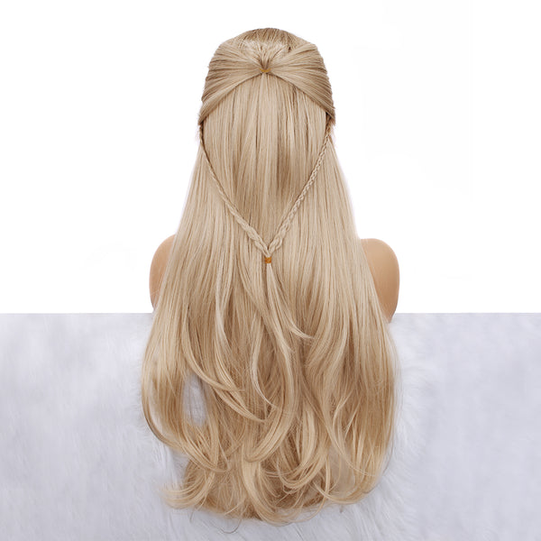 Long Straight Ash Blonde Synthetic Lace Front Wigs