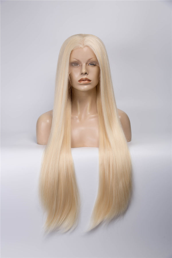 Blonde Long Straight Synthetic Lace Front Wigs - Imstylewigs