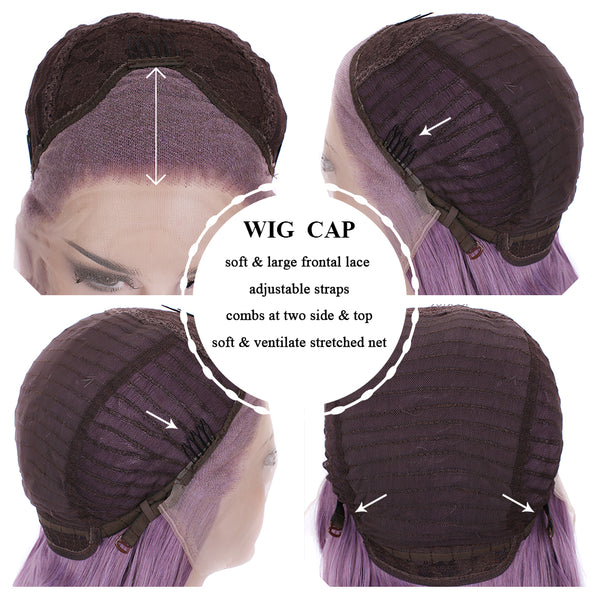 Lilac Purple Glueless Lace Front Synthetic Wigs - Imstylewigs