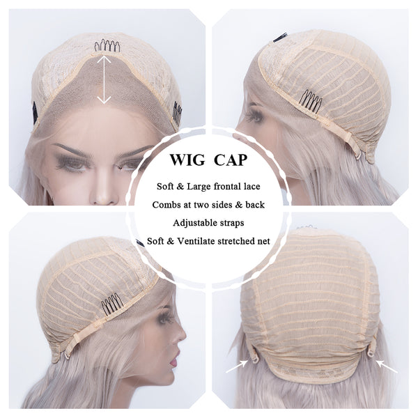Silver Grey Glueless Straight Lace Front Wigs - Imstylewigs