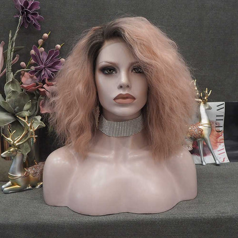 Momo - Taffy Pink Curly Bob Synthetic Wig IMNF6