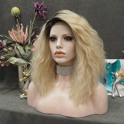 Naomi - Blonde With Dark Root Shoulder Length Curly Lace Front Wig