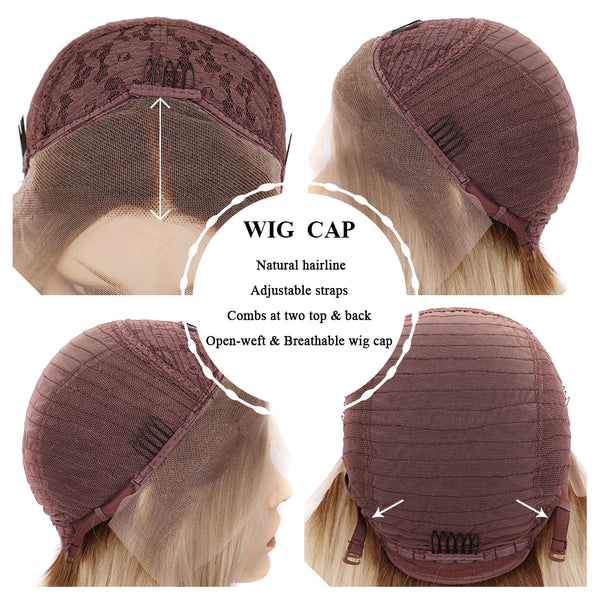 Straight Ash Blonde Glueless Lace Front Wigs