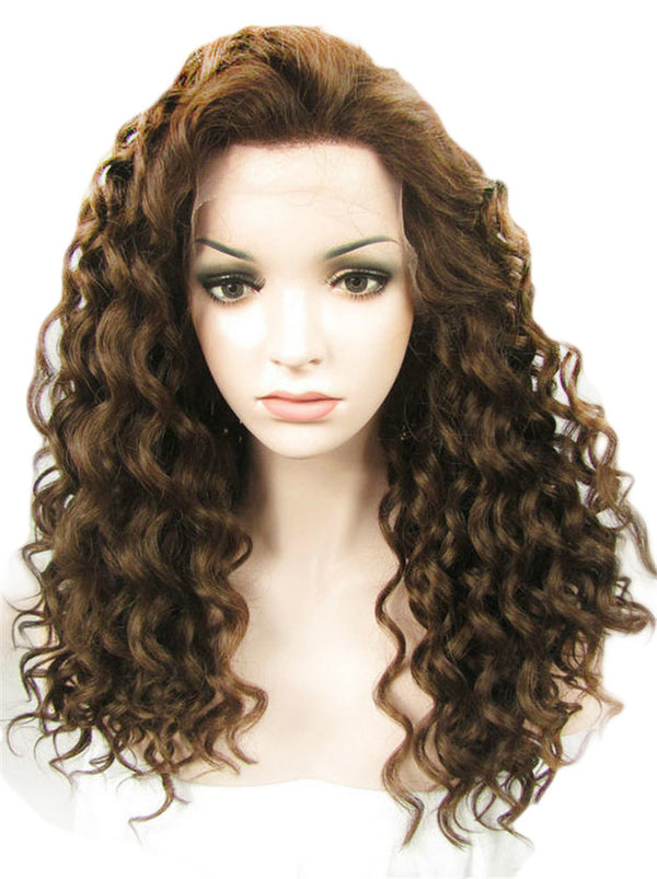 Medium Brown Deep Curly Synthetic Lace Front Wigs - Imstylewigs
