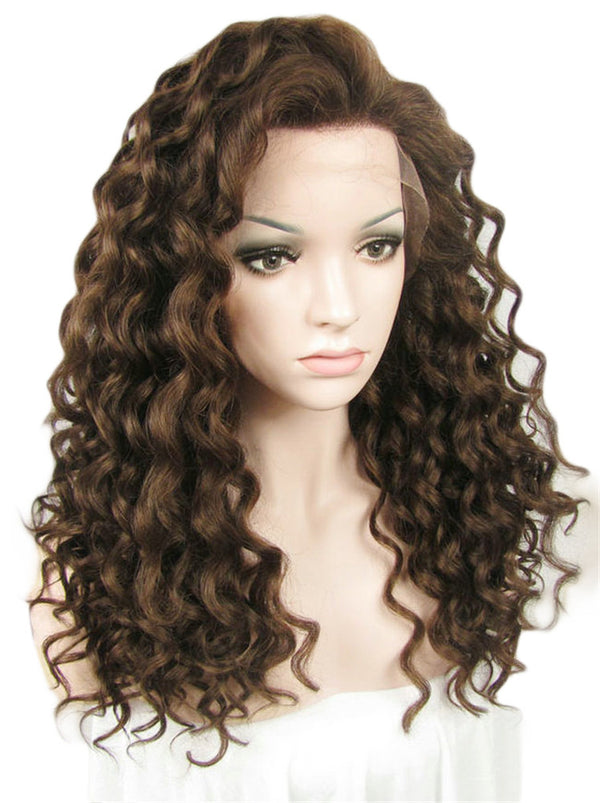 Medium Brown Deep Curly Glueless Lace Front Wigs - Imstylewigs