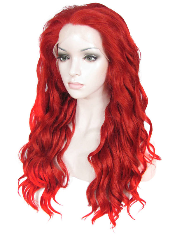 Red Curly Synthetic Lace Front Wigs  IMN63100