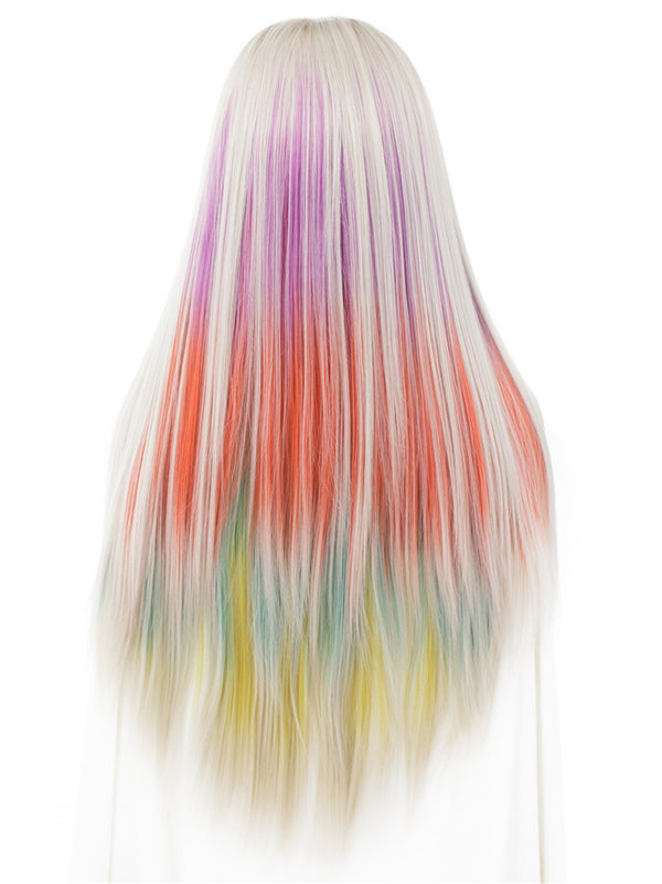 Long Rainbow Color Straight Glueless Lace Front Wigs - Imstylewigs