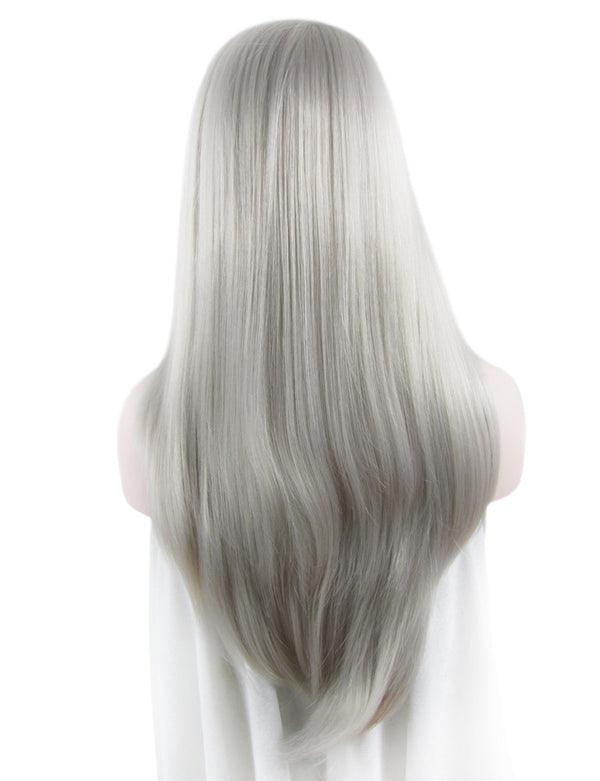 Long Galaxy Silver Glueless Synthetic Lace Front Wigs - Imstylewigs