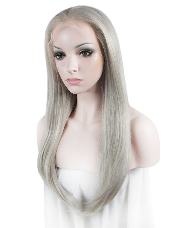 Galaxy Silver Straight Glueless Synthetic Lace Front Wigs - Imstylewigs