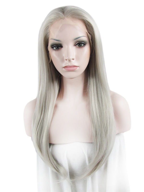 Long Galaxy Silver Straight Glueless Lace Front Wigs - Imstylewigs