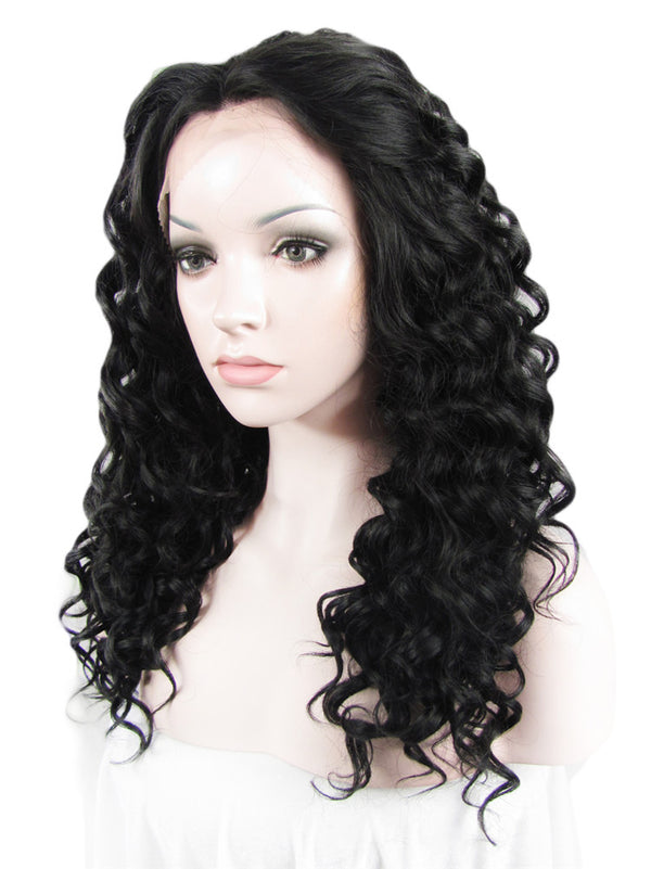 Darkest Brown Deep Curly Glueless Lace Front Wigs - Imstylewigs
