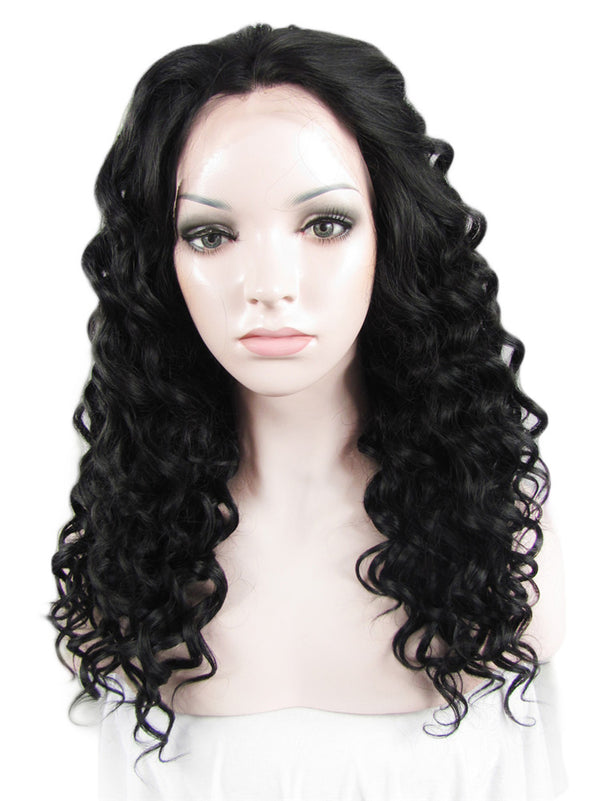 Darkest Brown Deep Curly Glueless Synthetic Lace Front Wigs - Imstylewigs