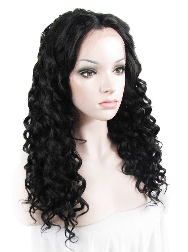 Medium Length Darkest Brown Glueless Synthetic Lace Front Wigs - Imstylewigs