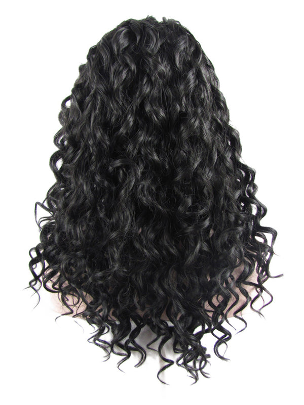 Medium Darkest Brown Deep Curly Synthetic Lace Front Wigs - Imstylewigs