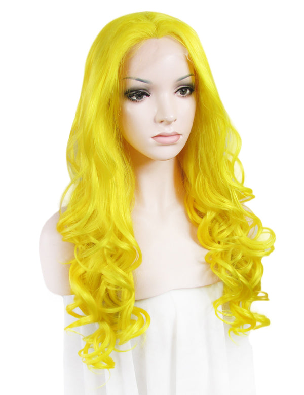 Long Loose Big Wavy Yellow Glueless Lace Front Wigs - Imstylewigs
