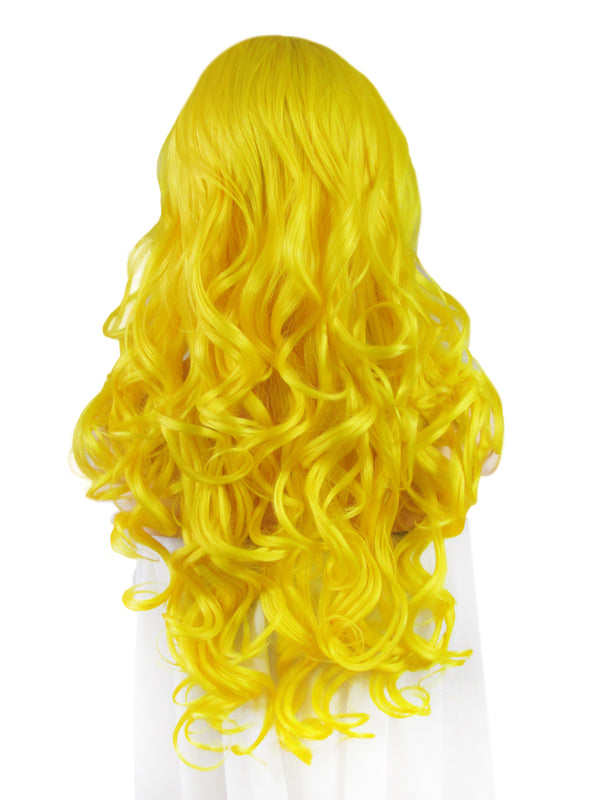 Long Loose Big Wavy Yellow Glueless Synthetic Lace Front Wigs - Imstylewigs