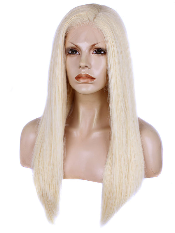 Long Blonde Silk Layered Straight Glueless Lace Front Wigs - Imstylewigs