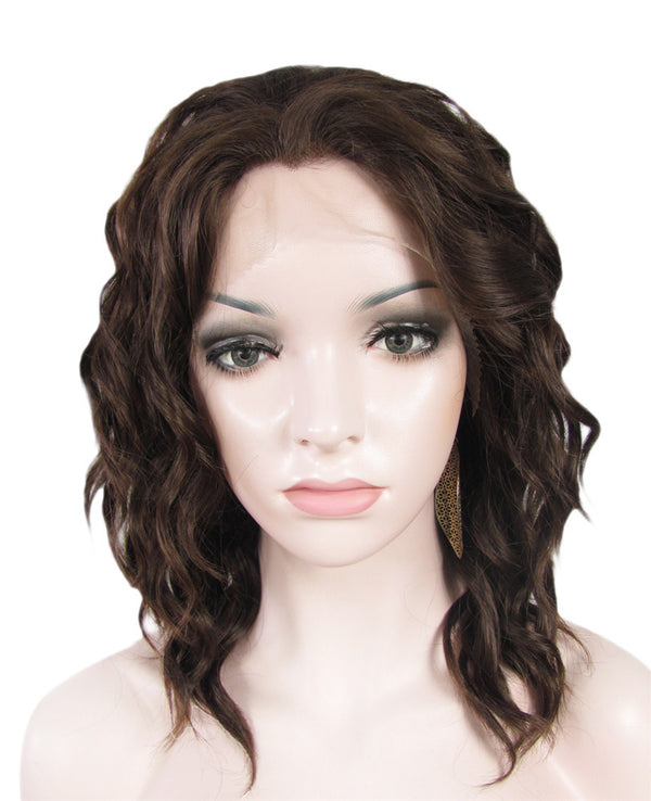 Chestnut Brown Synthetic Loose Curly Glueless Lace Front Wigs - Imstylewigs