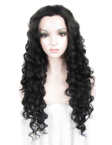 Black Deep Curly Synthetic Glueless Lace Front Wigs - Imstylewigs