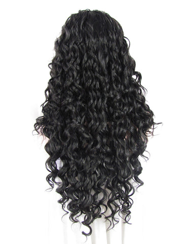 Natural Black Deep Curly lace front wig DQ