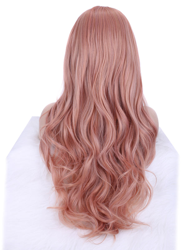 Orange Pink Natural Style Lace Front Wig