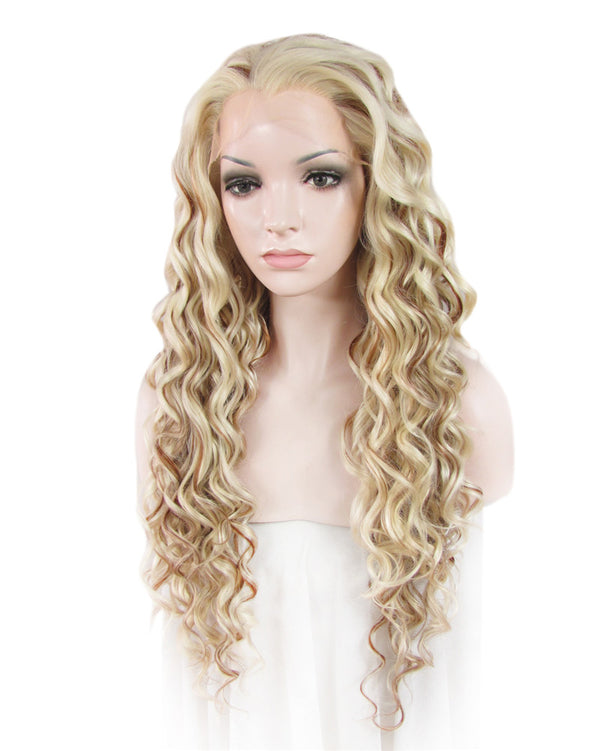 Blonde Mixed Brown Curly Glueless Synthetic Lace Front Wigs - Imstylewigs