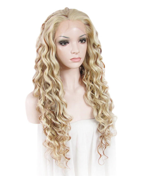 Blonde Mixed Brown Curly Glueless Lace Front Wigs - Imstylewigs