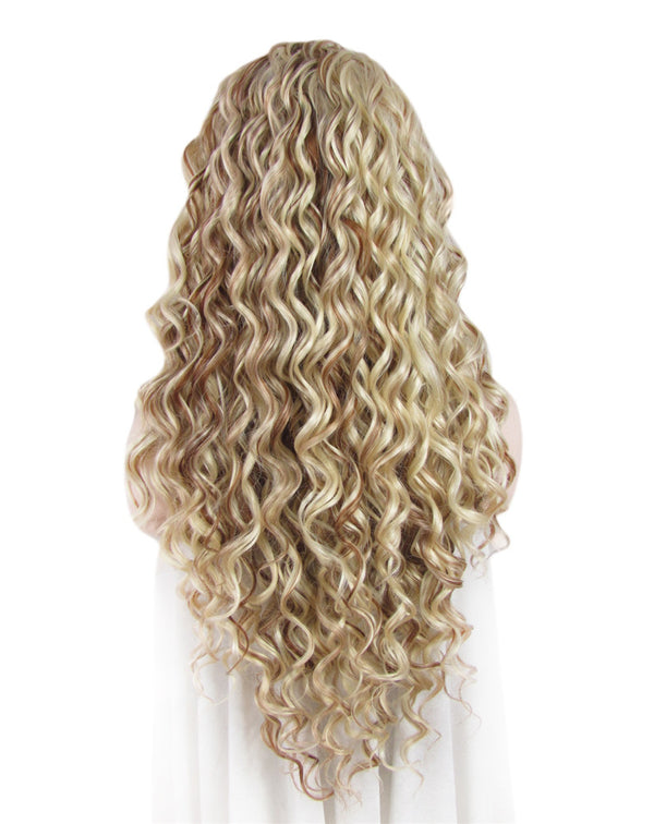 Long Blonde Mixed Brown Curly Glueless Synthetic Lace Front Wigs - Imstylewigs