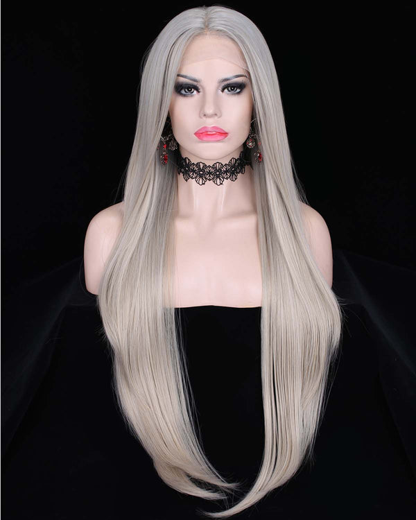 Luxury Grey Silver Ombre Color Straight Lace Front Wigs - Imstylewigs