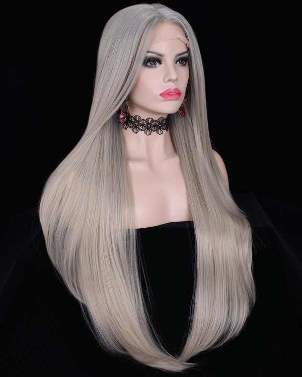 Luxury Grey Silver Ombre Color Straight Synthetic Lace Front Wigs - Imstylewigs