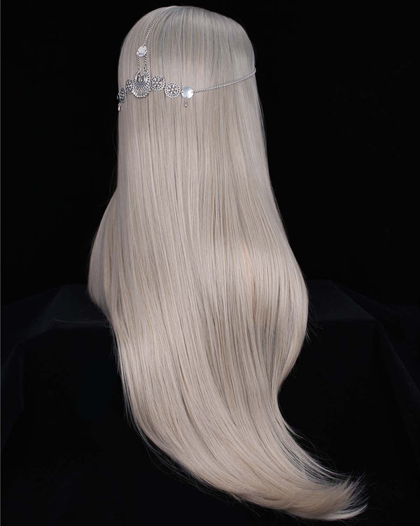 Luxury Grey Silver Ombre Color Straight Glueless Synthetic Lace Front Wigs - Imstylewigs