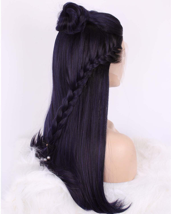Mystery Purple Light Yaki Straight Synthetic Lace Front Wigs - Imstylewigs