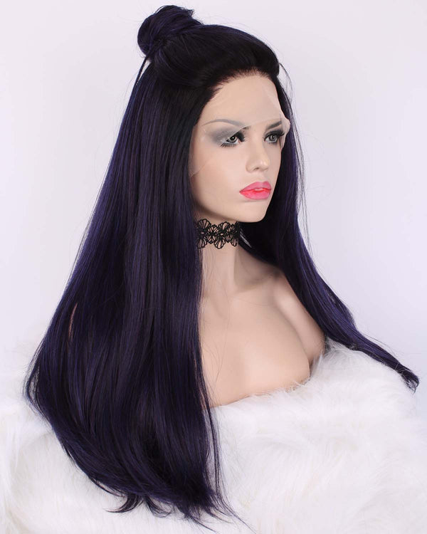 Long Mystery Purple Light Yaki Straight Glueless Lace Front Wigs - Imstylewigs