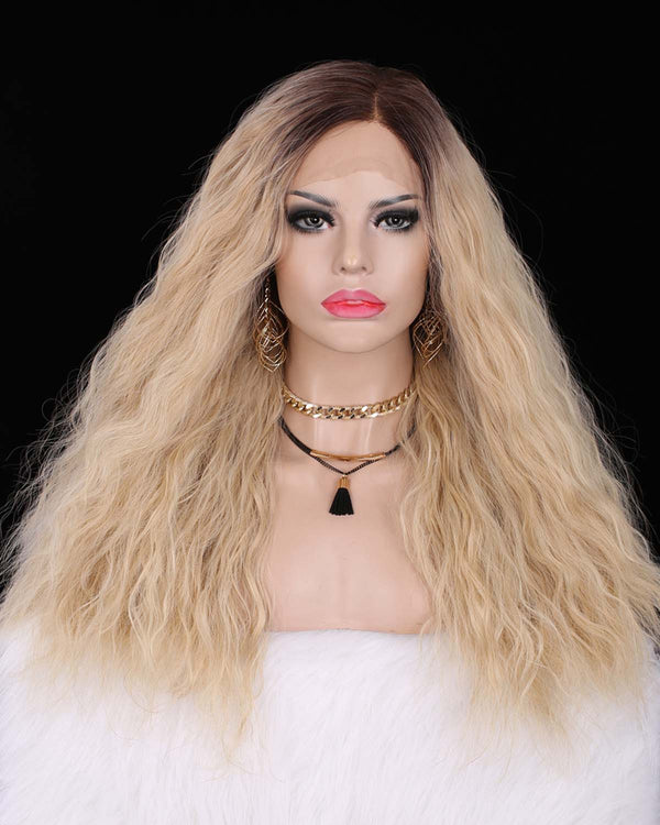 Dark Rooted Natural Blonde Curly Straight Lace Front Wigs - Imstylewigs