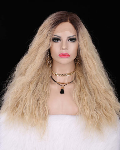 Dark Rooted Natural Blonde Curly Synthetic Wigs IM8135