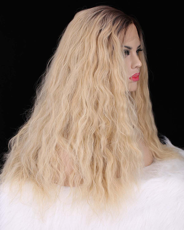 Dark Rooted Natural Blonde Curly Straight Glueless Lace Front Wigs - Imstylewigs